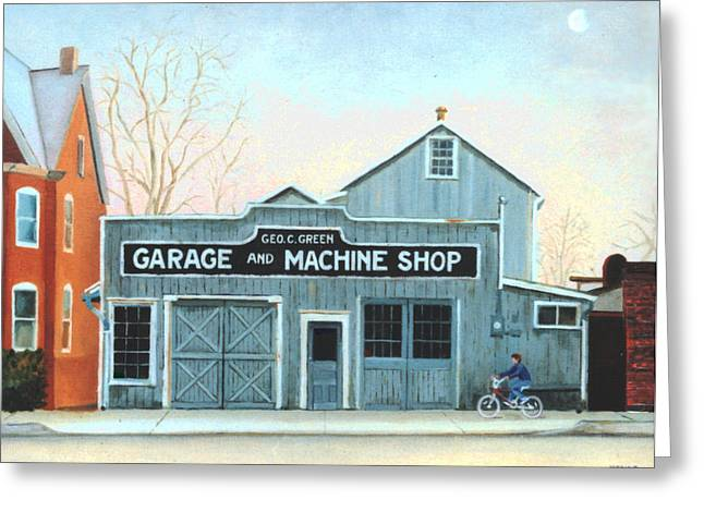 Greeting Card featuring the painting Old Machine Shop by Robert Henne