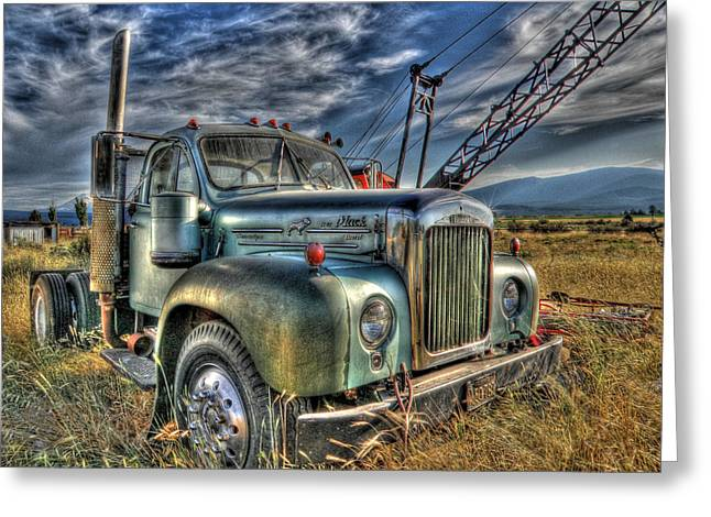 Transporation Greeting Cards - Old Mack truck Greeting Card by Peter Schumacher