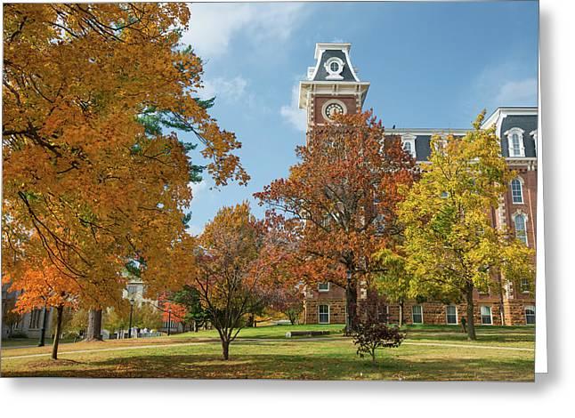 Old Main At The University Of Arkansas During Fall Greeting Card