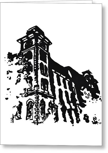 Restoration Drawings Greeting Cards - Old Main Building in Fayetteville AR Greeting Card by Amanda  Sanford