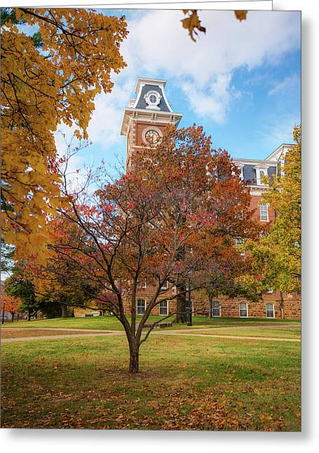 Old Main On The University Of Arkansas Campus - Autumn In Fayetteville Greeting Card