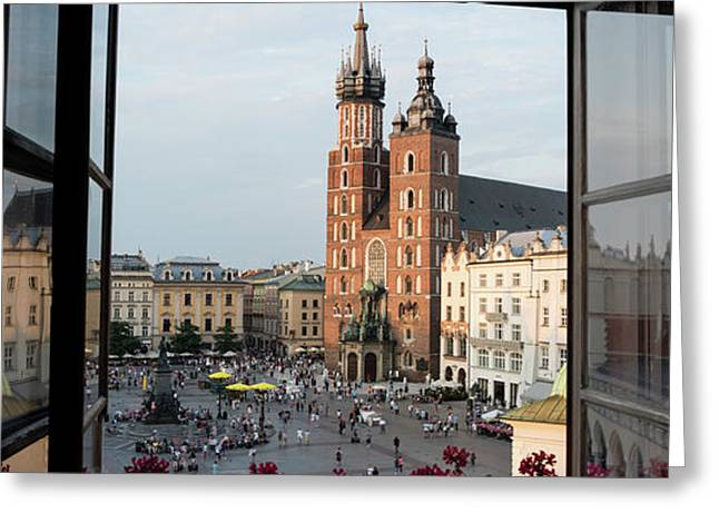 Old Main Square Krakow Poland Panorama Greeting Card