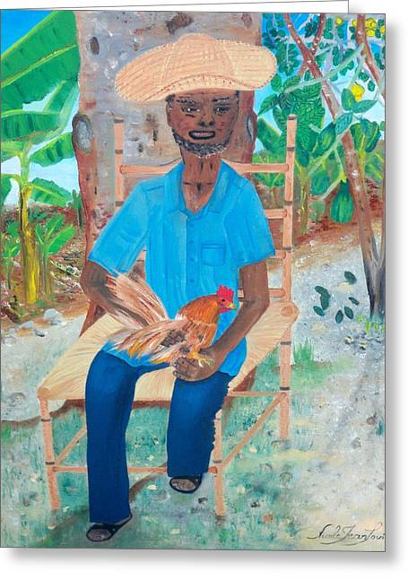 Greeting Card featuring the painting Old Man And His Rooster by Nicole Jean-louis
