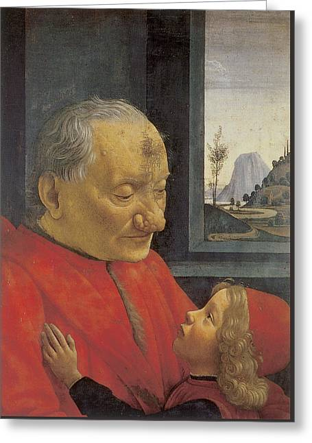 Old Man And Young Boy Greeting Card by Domenico Ghirlandaio