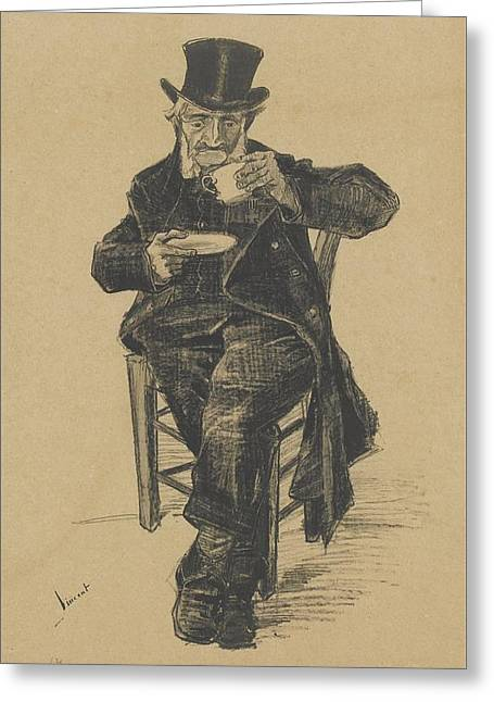 Old Man Drinking Coffee The Hague, November Greeting Card by MotionAge Designs