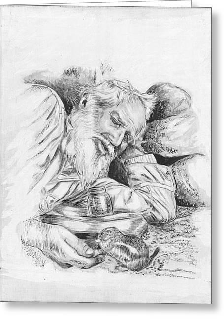 Old Man Feeding Chipmunk Greeting Card by Samuel Showman