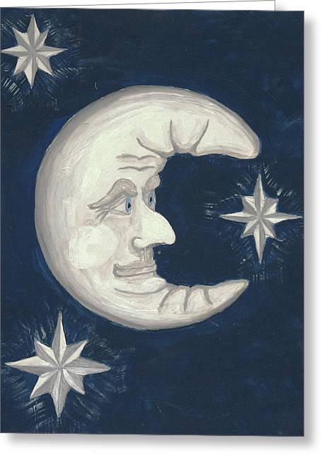 Man In The Moon Paintings Greeting Cards - Old Man Moon Greeting Card by Gordon Wendling