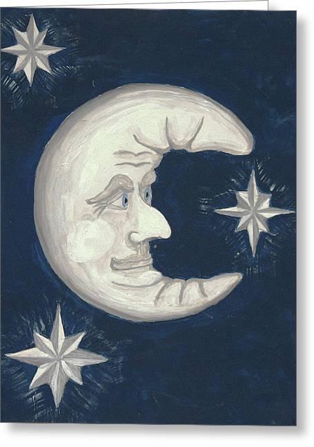 Old Man Moon Greeting Card by Gordon Wendling
