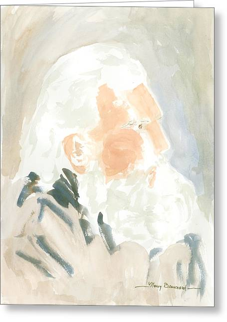 White Beard Mixed Media Greeting Cards - Old Man Greeting Card by Nancy Brennand