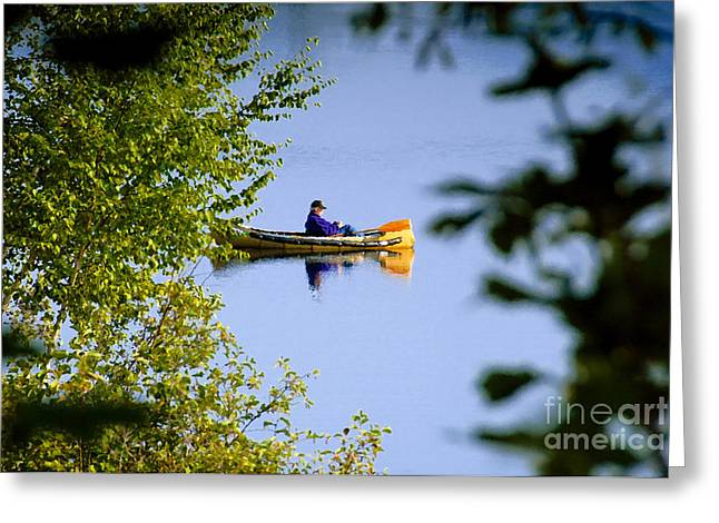 Old Man On The Lake Greeting Card by David Lee Thompson