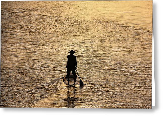 Old Man Paddling Into The Sunset Greeting Card