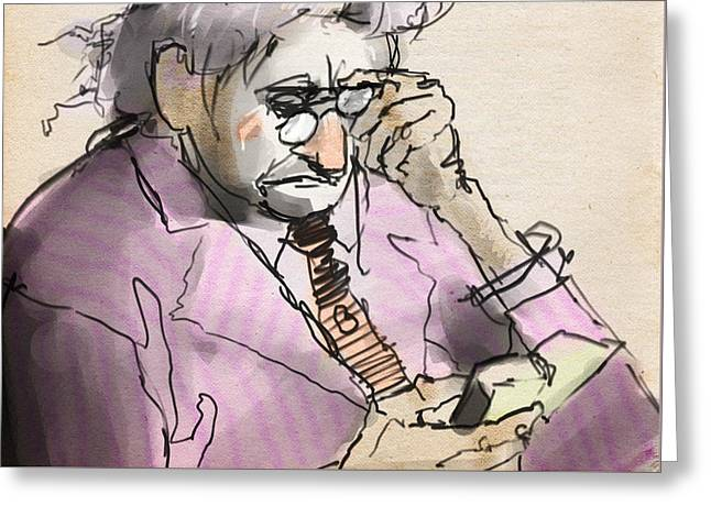 Old Man Reading A Small Book Greeting Card by H James Hoff