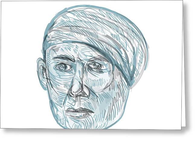 Old Man Wearing Turban Drawing Greeting Card