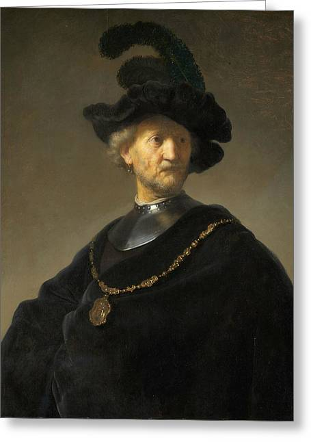Old Man With A Gold Chain Greeting Card by Rembrandt