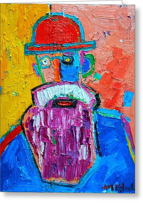 Mustache Greeting Cards - Old Man With Red Bowler Hat Greeting Card by Ana Maria Edulescu