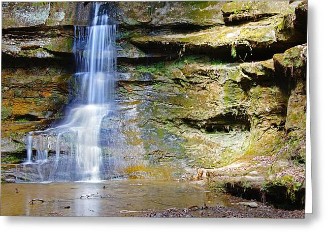 Old Man's Cave Waterfall Greeting Card