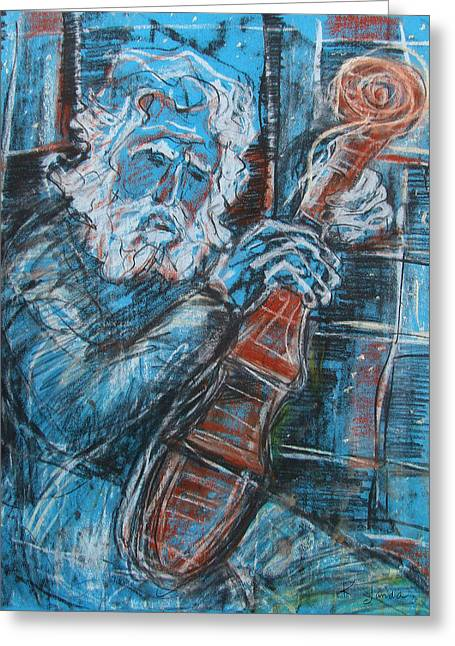 Old Man's Violin Greeting Card