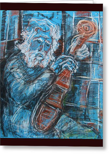 Old Man's Violin Greeting Card