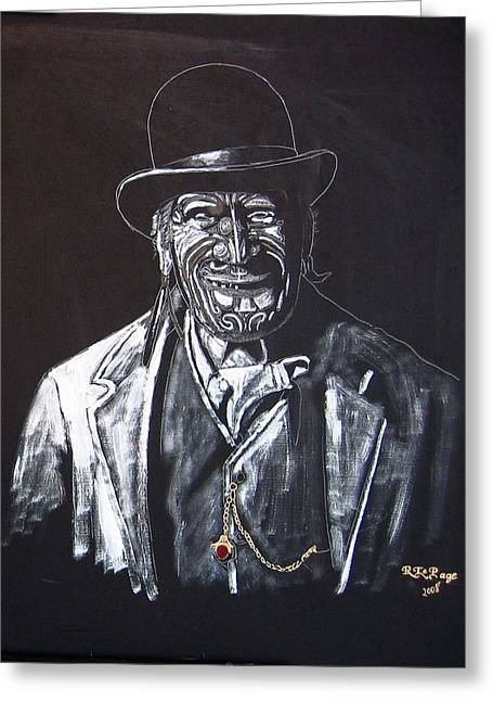 Greeting Card featuring the painting Old Maori Tane by Richard Le Page