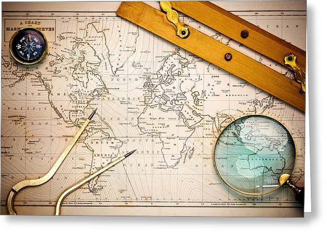 Longitude Greeting Cards - Old map and navigational objects. Greeting Card by Richard Thomas