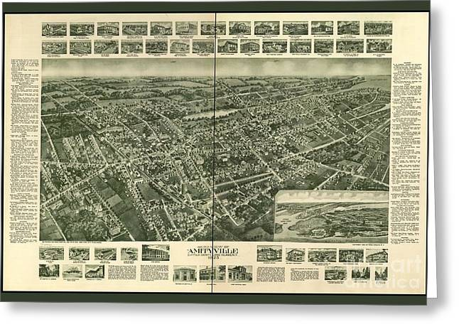 Old Map Of Amityville New York Greeting Card