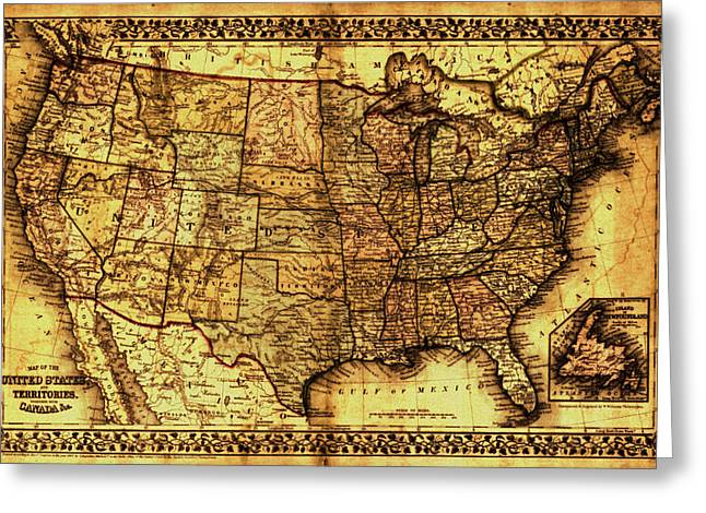 Old Map United States Greeting Card