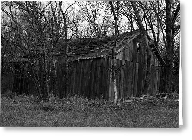 Old Maydale Barn - Black And White Greeting Card