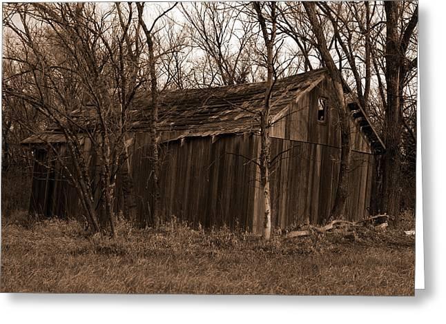 Old Maydale Barn - Sepia Tone Greeting Card