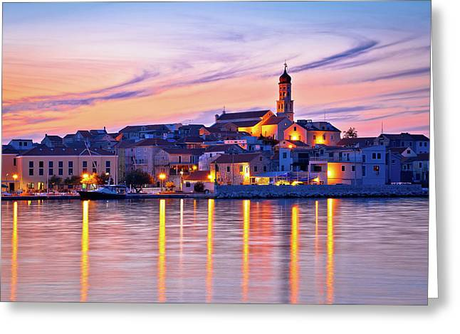 Old Mediterranean Town Of Betina Sunset View Greeting Card