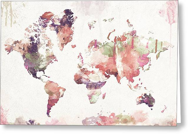 Old Memories World Map Greeting Card