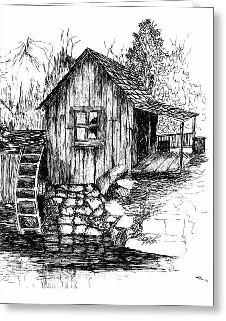 Grist Mill Drawings Greeting Cards - Old Mill Greeting Card by Barney Hedrick