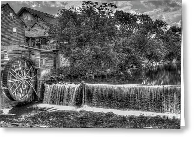 Old Mill Classic B W The Pigeon Forge Mill Art Greeting Card by Reid Callaway