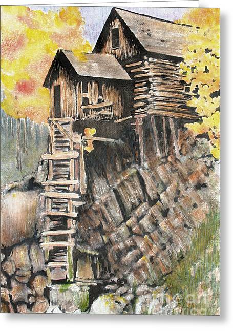 Old Mill In The Rockies Greeting Card by Ann Sokolovich