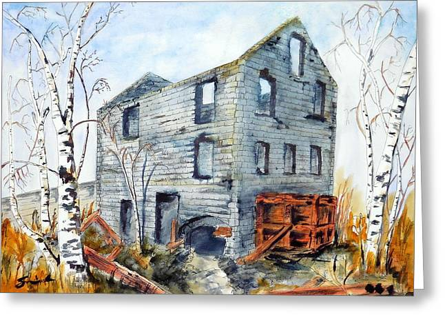 Old Mill Greeting Card by Sonia Mocnik
