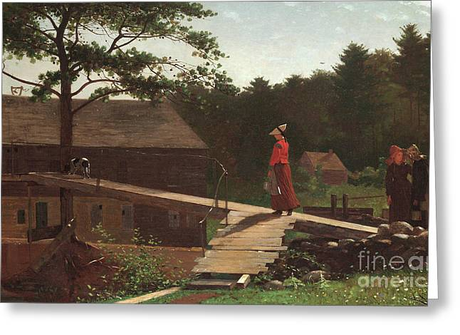 Old Mill, The Morning Bell, 1871 Greeting Card