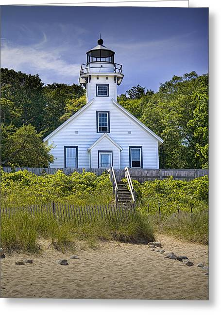 Old Mission Point Lighthouse In Grand Traverse Bay Michigan Number 2 Greeting Card by Randall Nyhof