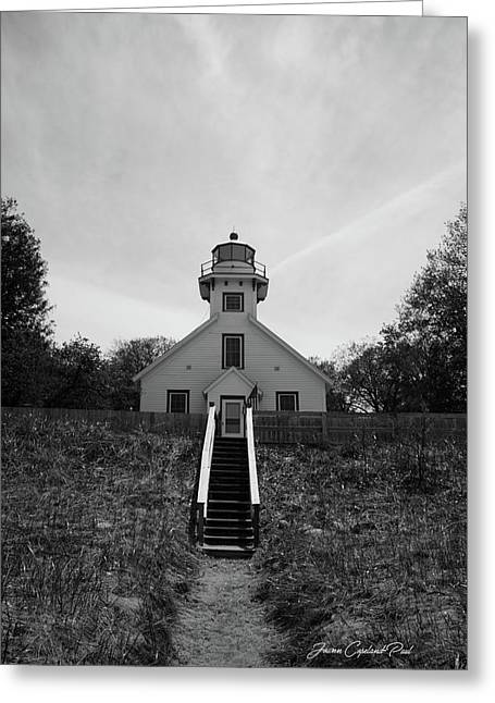 Greeting Card featuring the photograph Old Mission Point Lighthouse by Joann Copeland-Paul