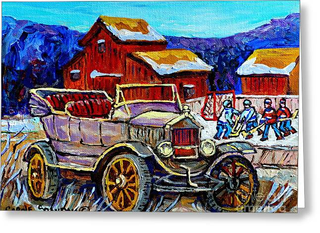 Old Model T Car Red Barns Canadian Winter Landscapes Outdoor Hockey Rink Paintings Carole Spandau Greeting Card by Carole Spandau