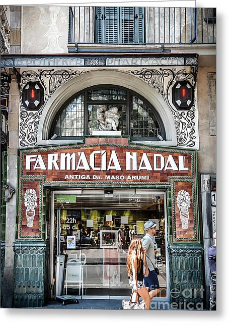 Old Modernist Pharmacy In Barcelona Greeting Card by RicardMN Photography