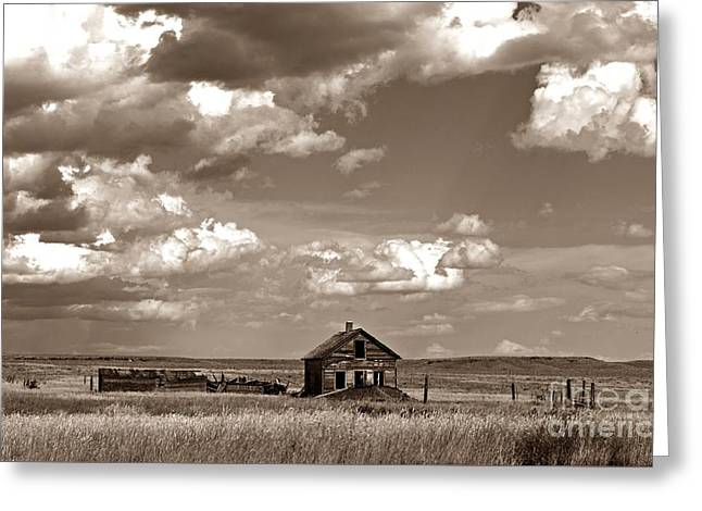 Old Montana Homestead Sepia Greeting Card by Chalet Roome-Rigdon