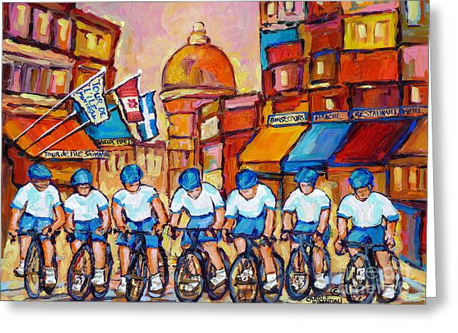 Old Montreal Bike Race Tour De L'ile Canadian Scene Painting Montreal Art Carole Spandau             Greeting Card by Carole Spandau