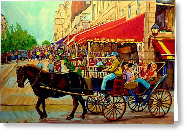 Old Montreal Restaurants Greeting Card by Carole Spandau