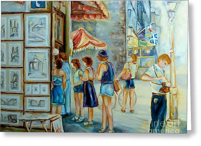 Old Montreal Street Scene Greeting Card by Carole Spandau