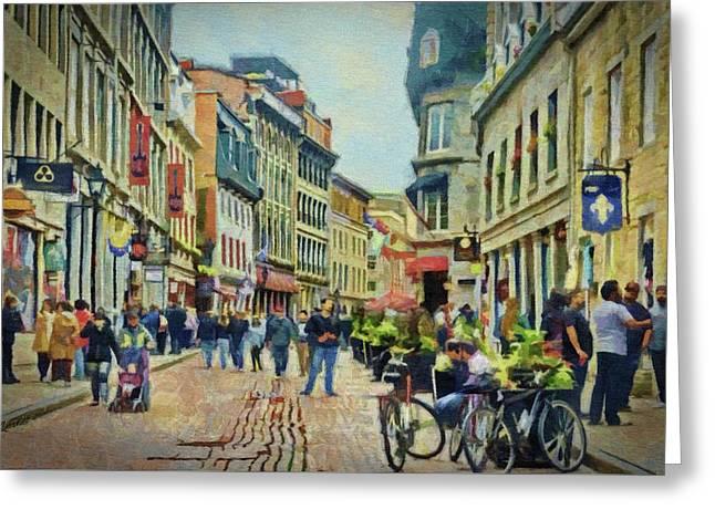 Old Montreal Street Scene Greeting Card