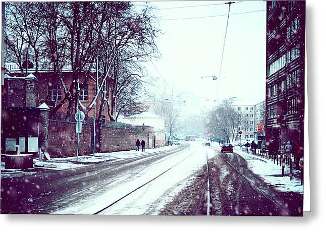 Old Moscow Street. Snowy Days In Moscow Greeting Card by Jenny Rainbow