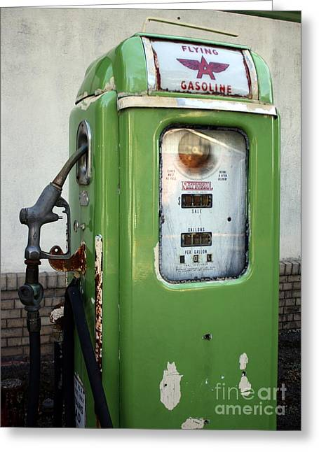 Old National Gas Pump Greeting Card by DazzleMePhotography