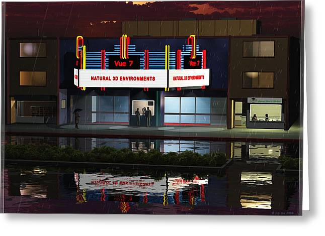 Jim Coe Greeting Cards - Old Neighborhood Movie Theater in Rain Greeting Card by Jim Coe