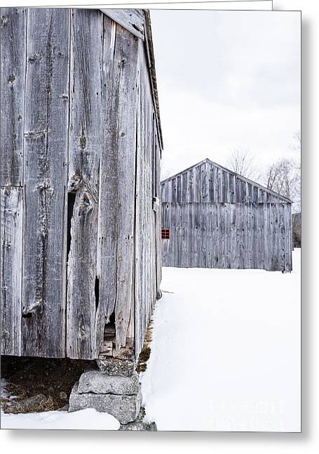 Greeting Card featuring the photograph Old New England Barns Winter by Edward Fielding