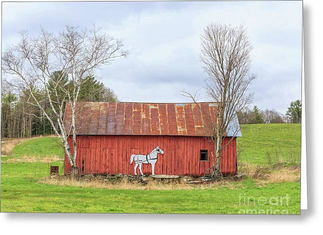 Old New England Red Horse Barn Greeting Card by Edward Fielding