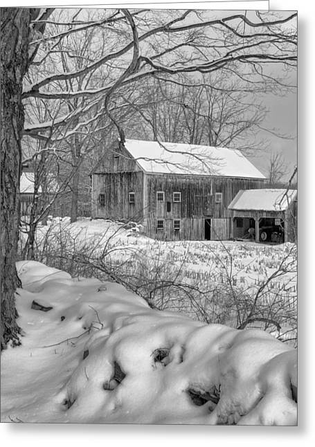 Old New England Winter 2016 Bw Greeting Card